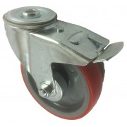 125mm Swivel Castor with Brake (BH), Polyurethane Tyre wheel, Roller Bearing, 150kg