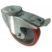 160mm Swivel Castor with Brake (BH), Polyurethane Tyre wheel, Roller Bearing, 200kg