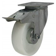 125mm Swivel Castor with Brake (Plate), Nylon wheel, Roller Bearing, 200kg