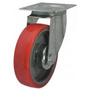 80mm Swivel Castor (Plate), Polyurethane Tyre wheel, Roller Bearing, 130kg
