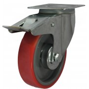 125mm Swivel Castor with Brake (Plate), Polyurethane Tyre wheel, Roller Bearing, 200kg