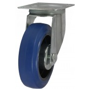 100mm Swivel Castor (Medium Plate), Blue Rubber Tyre wheel, Roller Bearing, 160kg