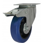 100mm Swivel Castor with Brake (Medium Plate), Rubber Tyre wheel, Roller Bearing, 160kg