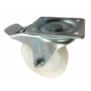 150mm Swivel Castor with Brake (Plate), Nylon wheel, Plain Bore, 500kg