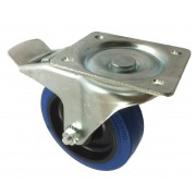 200mm Swivel Castor with Brake (Plate), Rubber Tyre wheel, Plain Bore, 450kg
