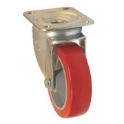 125mm Swivel Castor (Plate), Polyurethane Tyre wheel, Roller Bearing, 250kg