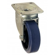 100mm Swivel Castor (422RNB), Blue Rubber Tyre wheel, Roller Bearing, 160kg