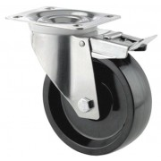 100mm High Temperature Braked Castor, 125kg Load Capacity