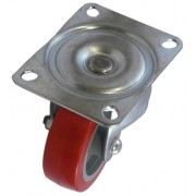 100mm Swivel Castor (Top Plate), Polyurethane Tyre wheel, Plain Bore, 250kg