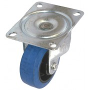 50mm Top Plate Swivel Castor, Blue Rubber Tyre Wheel, 27kg Load Capacity