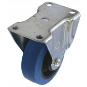 50mm Top Plate Fixed Castor, Blue Rubber Tyre Wheel, 27kg Load Capacity