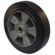 125mm Black Elastic Rubber Tyre / Aluminium Centre Wheel, 20mm Ball bearing, 225kg