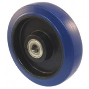 200mm Blue Rubber Tyre / Nylon Centre Wheel, 20mm Ball bearing, 450kg
