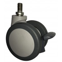 65mm Swivel Castor (Synthetic) with Brake, M10x15mm Threaded Stem, 70kg Load