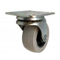 50mm Swivel Castor with Grey Rubber Tyre wheel, Plain Bore, 23kg load rating