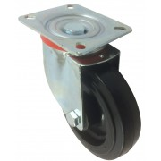 125mm Swivel Castor (Plate), Rubber Tyre wheel, Roller Bearing, 170kg