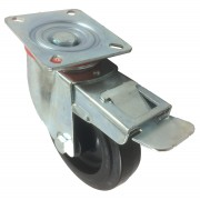 125mm Swivel Castor with Brake (Plate), Rubber Tyre wheel, Roller Bearing, 170kg