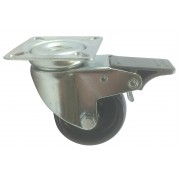 60mm Swivel Castor with Brake. Black Polypropylene wheel, Load Capacity 50kg