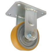 100mm Fixed Castor (Fabricated Bracket) Polyurethane Tyre, Ball bearing, 300kg