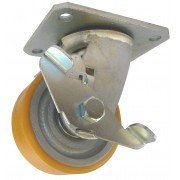 100mm Swivel Castor with Brake (Fabricated Bracket), Polyurethane Tyre, Ball bearing, 300kg