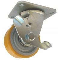 100mm Swivel Castor with Brake (Plate), Polyurethane Tyre wheel, Ball bearing, 300kg