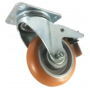 150mm Swivel Castor with Brake (Plate), Polyurethane Tyre wheel, Ball bearing, 500kg