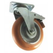 200mm Swivel Castor with Brake (Plate), Polyurethane Tyre wheel, Ball bearing, 500kg