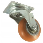 100mm Swivel Castor (Plate), Polyurethane Tyre wheel, Ball bearing, 250kg