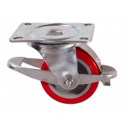 100mm Swivel Castor with Brake (Top Plate), Polyurethane Tyre wheel, Roller Bearing, 250kg