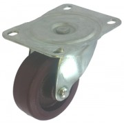 100mm Swivel Castor (Top Plate), Polyurethane Tyre wheel, Roller Bearing, 295kg