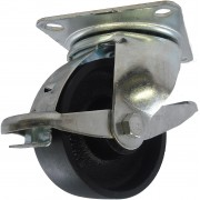 100mm Swivel Castor with Brake (Plate), Cast Iron wheel, Plain Bore, 340kg