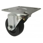 50mm Swivel Castor (Plate), Black Polypropylene wheel, Plain Bore, 50kg