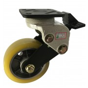 130mm Shock Absorbing Swivel Castor with Brake ,Polyurethane Tyre wheel, 350kg Load Capacity