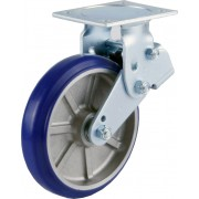 200mm Fixed Castor (Plate), Polyurethane Tyre wheel, Ball bearing, 450kg