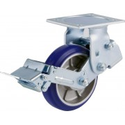 150mm Fixed Castor with Brake (Plate), Polyurethane Tyre wheel, Ball bearing, 360kg
