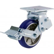 150mm Swivel Castor with Brake (Plate), Polyurethane Tyre wheel, Ball bearing, 360kg