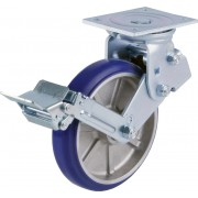 200mm Swivel Castor with Brake (Plate), Polyurethane Tyre wheel, Ball bearing, 450kg