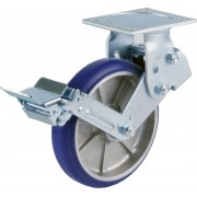 200mm Fixed Castor with Brake (Plate), Polyurethane Tyre wheel, Ball bearing, 450kg