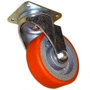 300mm Swivel Castor (Plate), Polyurethane Tyre wheel, Ball Bearing, 1800kg