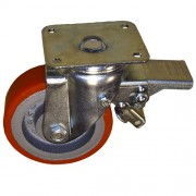 250mm Swivel Castor with Brake (Plate), Polyurethane Tyre wheel, Ball Bearing, 1500kg