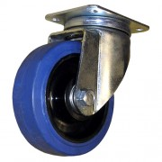 125mm Swivel Castor (Plate), Rubber Tyre wheel, Roller Bearing, 180kg
