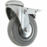125mm Swivel Castor with Brake (Single Bolt Hole), Grey Rubber Tyre wheel, Plain Bore, 100kg