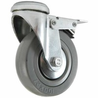 100mm Swivel Castor with Brake (BH), Grey Rubber Tyre wheel, Plain Bore, 80kg