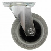 200mm Swivel Castor (Plate), Grey Rubber Tyre wheel, Plain Bore, 205kg