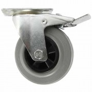 100mm Swivel Castor with Brake (Plate), Grey Rubber Tyre wheel, Plain Bore, 70kg
