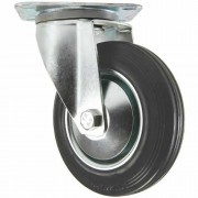 125mm Swivel Castor (Plate), Black Rubber Tyre wheel, Roller Bearing, 100kg