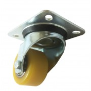 60mm Swivel Castor (Plate), Polyurethane Tyre wheel, Ball bearing, 200kg