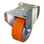 100mm Fixed Castor (Pressed Steel), Polyurethane Tyre, Ball Bearing, 300kg