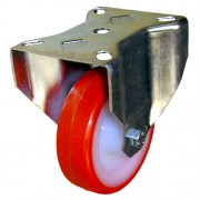 125mm Fixed Castor (Plate), Polyurethane Tyre wheel, Roller Bearing, 200kg