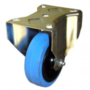 100mm Fixed Castor (80x60 BH), Rubber Tyre, Roller Bearing, 160kg